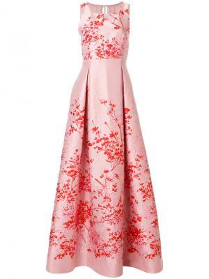 Длинное платье с цветочным принтом Max Mara. Цвет: розовый и фиолетовый