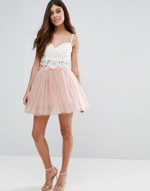 Rare Многослойная балетная мини-юбка. Цвет: розовый