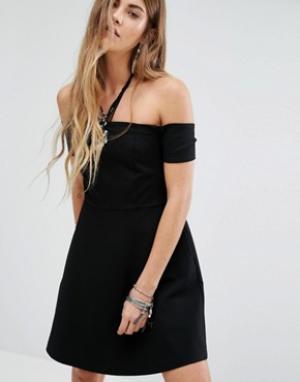 Free People Черное платье с открытыми плечами Mambo. Цвет: черный