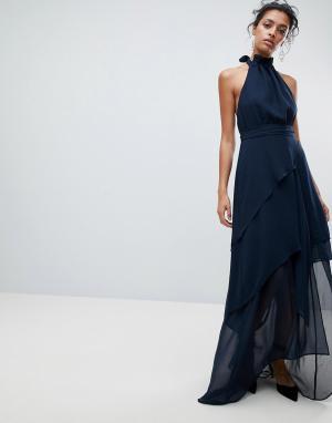 C/meo Collective Платье макси халтер с оборкой. Цвет: темно-синий