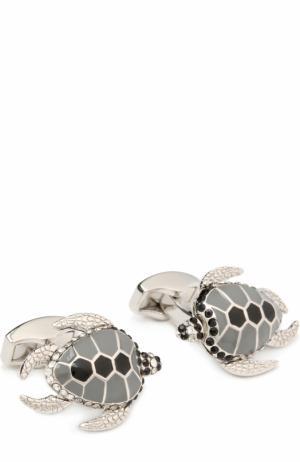 Запонки с кристаллами Swarovski Tateossian. Цвет: серебряный