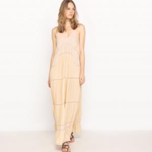 Платье длинное с открытой спиной SEE U SOON. Цвет: бледно-розовый