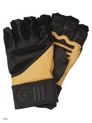 Перчатки для тяжелой атлетики и фитнеса Training Grip HARBINGER. Цвет: бежевый, черный