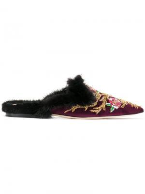 Слиперы с вышивкой Alberta Ferretti. Цвет: розовый и фиолетовый