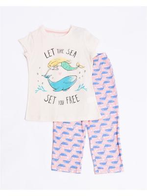 Пижама: футболка, бриджи Mark Formelle. Цвет: голубой, молочный, розовый