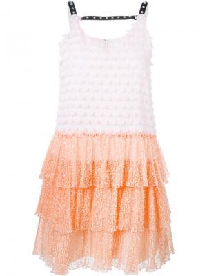 Платье с аппликацией Giamba. Цвет: розовый и фиолетовый