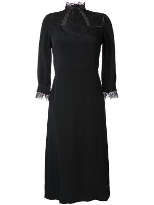 Платье с кружевной отделкой Vilshenko. Цвет: чёрный