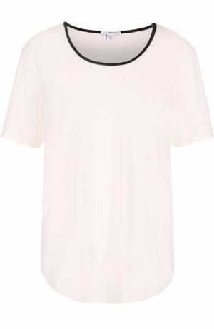 Хлопковая футболка с контрастной отделкой выреза James Perse. Цвет: белый