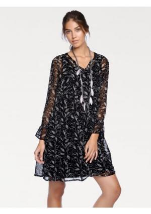 Платье LINEA TESINI by Heine. Цвет: черный/серо-бежевый