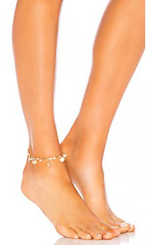 Ножной браслет Ettika. Цвет: металлический золотой