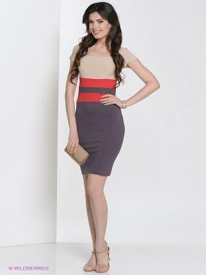Платье Hammond. Цвет: темно-фиолетовый, кремовый, красный