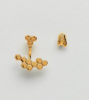 Bill Skinner Серьги в виде пчелы и пчелиных сот. Цвет: золотой