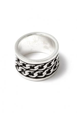 Серебристое кольцо с цепями Philippe Audibert. Цвет: серебряный