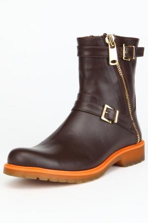 Ботинки утепленные, байка OSSO. Цвет: коричневый, кожа