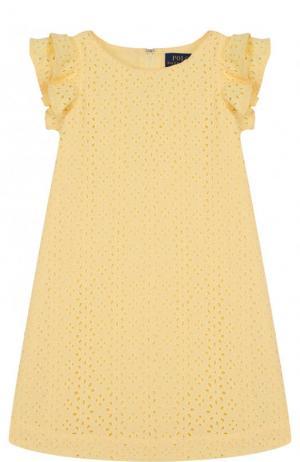 Хлопковое мини-платье с кружевной отделкой и оборками Polo Ralph Lauren. Цвет: желтый