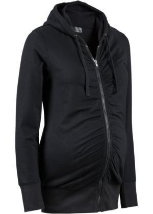 Мода для беременных: трикотажная куртка с драпировками и мягким ворсом внутренней стороны (серый меланж) bonprix. Цвет: серый меланж