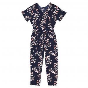 Комбинезон с брюками из струящейся ткани, тропический рисунок MOLLY BRACKEN. Цвет: темно-синий