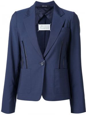 Пиджак с декоративными молниями Maison Margiela. Цвет: синий