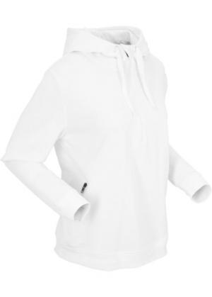 Свитшот с капюшоном и длинным рукавом (белый) bonprix. Цвет: белый