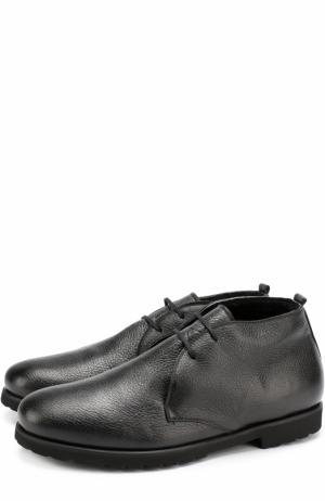 Кожаные ботинки на шнуровке с внутренней меховой отделкой Rocco P.. Цвет: черный