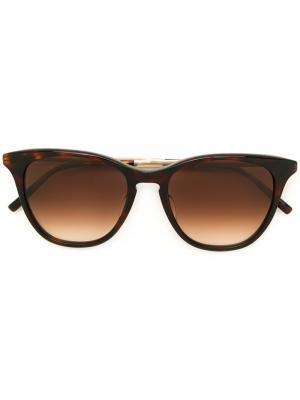 Солнцезащитные очки в квадратной оправе Matsuda. Цвет: коричневый