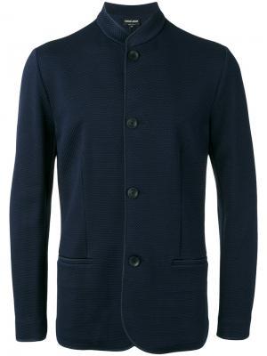 Жаккардовый пиджак с воротником-мандарин Giorgio Armani. Цвет: синий