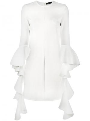 Платье с длинными рукавами воланами Ellery. Цвет: телесный