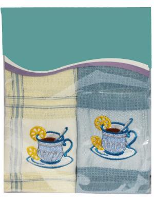 Набор кухонных полотенец Вафля, (38*64см - 2шт.) Dorothy's Нome. Цвет: молочный, голубой