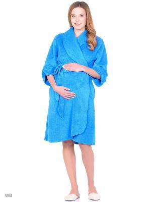 Халат для беременных из вельсофта 40 недель. Цвет: голубой