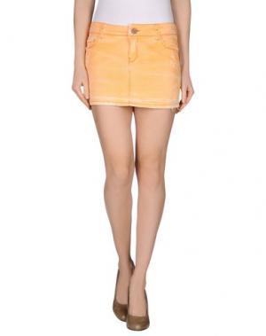 Джинсовая юбка JFOUR. Цвет: оранжевый