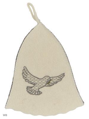 Шапка для бани с вышивкой в косметичке Голубь Метиз. Цвет: серый, белый
