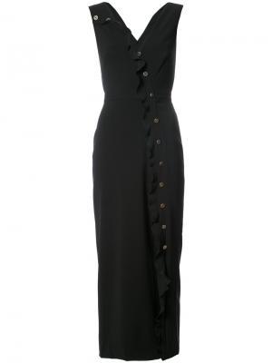 Приталенное платье миди Saloni. Цвет: чёрный