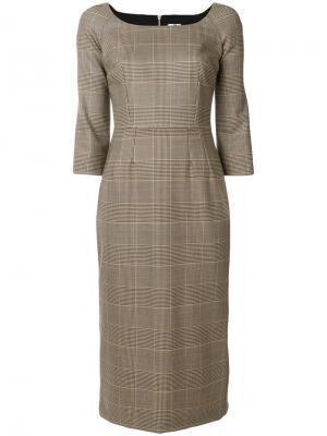 Приталенное платье в клетку Ultràchic. Цвет: коричневый
