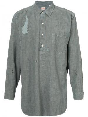 Рваная рубашка из денима Levis Levi's. Цвет: зелёный
