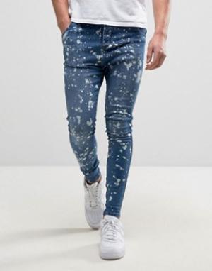 SikSilk Синие джинсы скинни. Цвет: синий