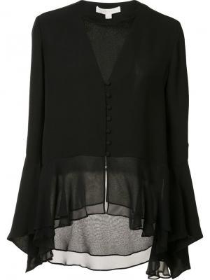 Прозрачная блузка с V-образным вырезом Jonathan Simkhai. Цвет: чёрный