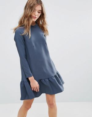 Closet London Платье с длинными рукавами и оборкой. Цвет: зеленый