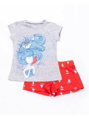 Комплект одежды: футболка, шорты Mark Formelle. Цвет: серый меланж, голубой, красный