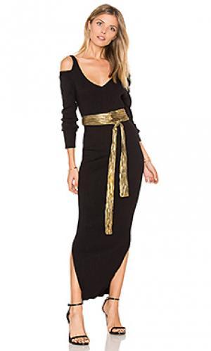 Платье в рубчик с открытыми плечами 525 america. Цвет: черный