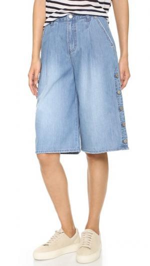Широкие джинсы с пуговицами сбоку SJYP. Цвет: голубой