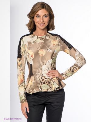 Блузка Yulia Dushina. Цвет: кремовый, черный, коричневый, бежевый