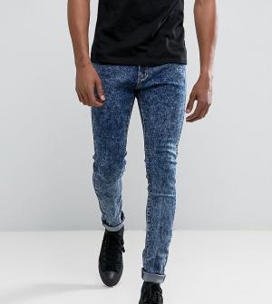 Liquor N Poker Синие зауженные джинсы с эффектом кислотной стирки. Цвет: синий