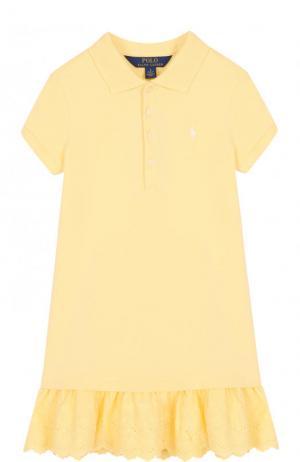 Хлопковое мини-платье с кружевной отделкой Polo Ralph Lauren. Цвет: желтый