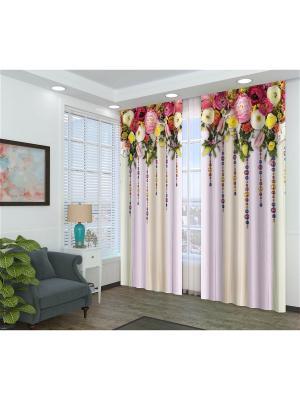 Фотошторы Цветы с бусами Сирень. Цвет: розовый, бежевый