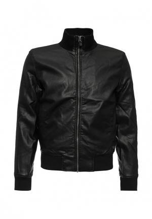 Куртка кожаная Fresh Brand. Цвет: черный