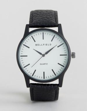 Bellfield Черные часы с круглым белым циферблатом. Цвет: черный