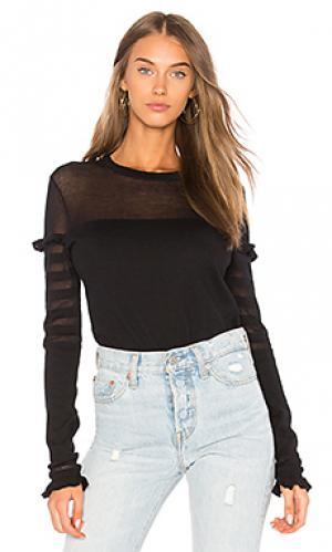 Полосатый свитер с рюшами Autumn Cashmere. Цвет: черный