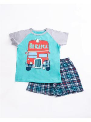 Пижама: футболка, шорты Mark Formelle. Цвет: бирюзовый, серый, синий