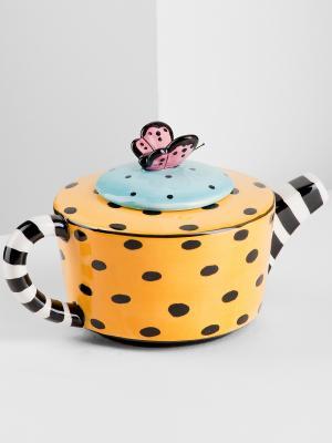 Заварочный чайник Туфельки Pavone. Цвет: желтый, белый, черный