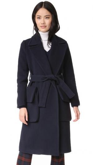 Пальто Urban с запахом Otto d'ame. Цвет: синий